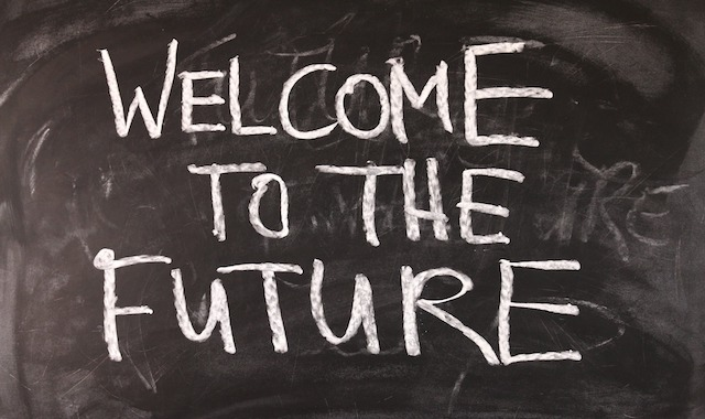 "IMAGE: ""Welcome to the Future"" sign"